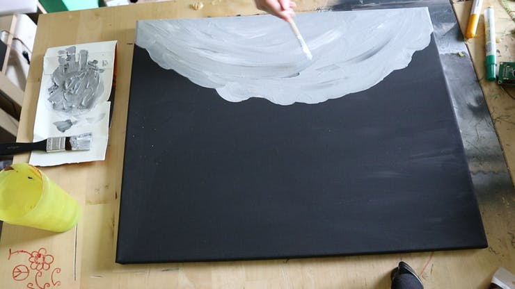 Painting a space landscape