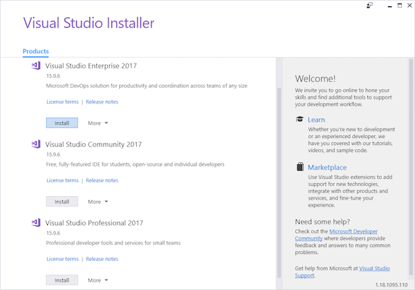 Visual Studio Installer window