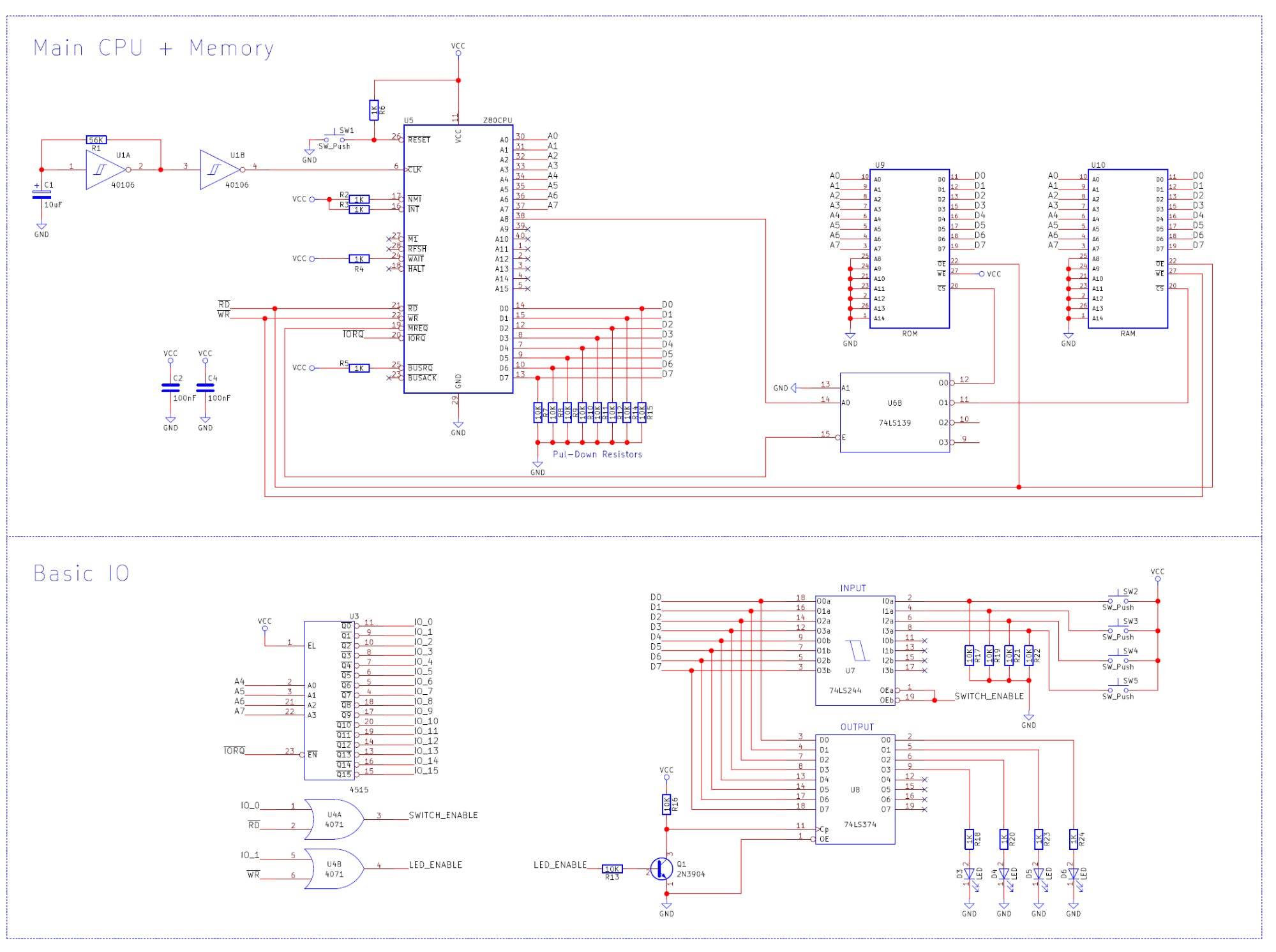 How To Build A Z80 Computer Part 4 Basic Io And Writing Your First Watchdog Timer Circuit View The Full Size Schematic