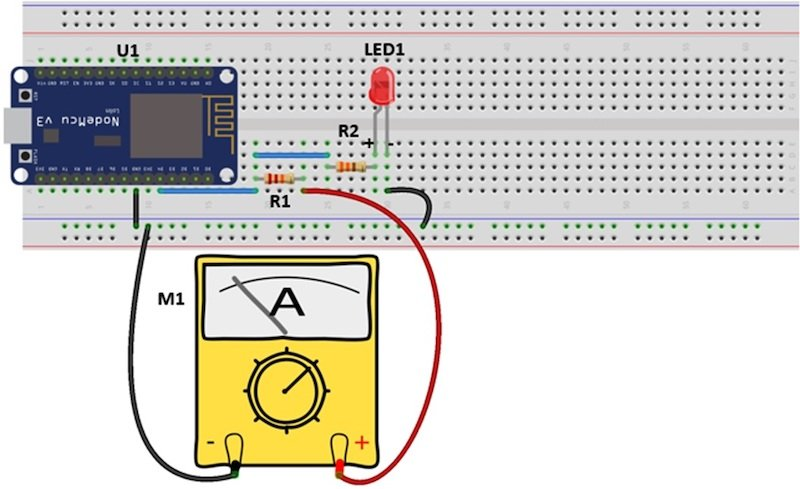 Figure 7. The ESP8266 WiFi Network Scanner electrical wiring diagram.
