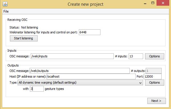 在Wekinator建立一个新项目