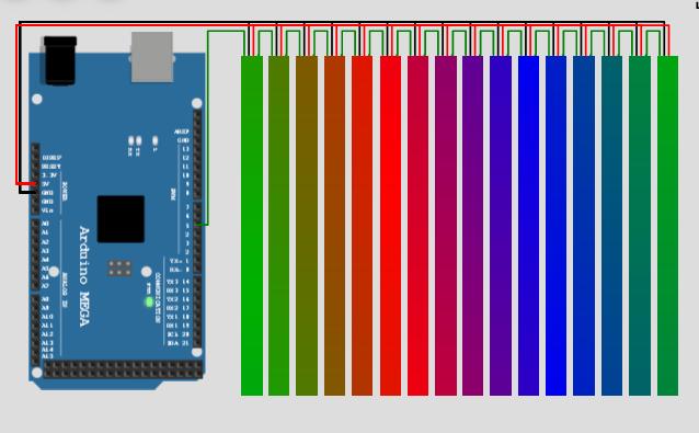 FastLED simulation example of wokwi Arduino simulator