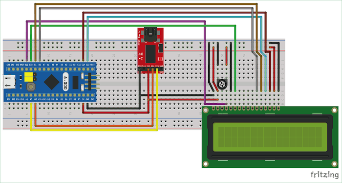 Connecting the LCD module to the STM32.