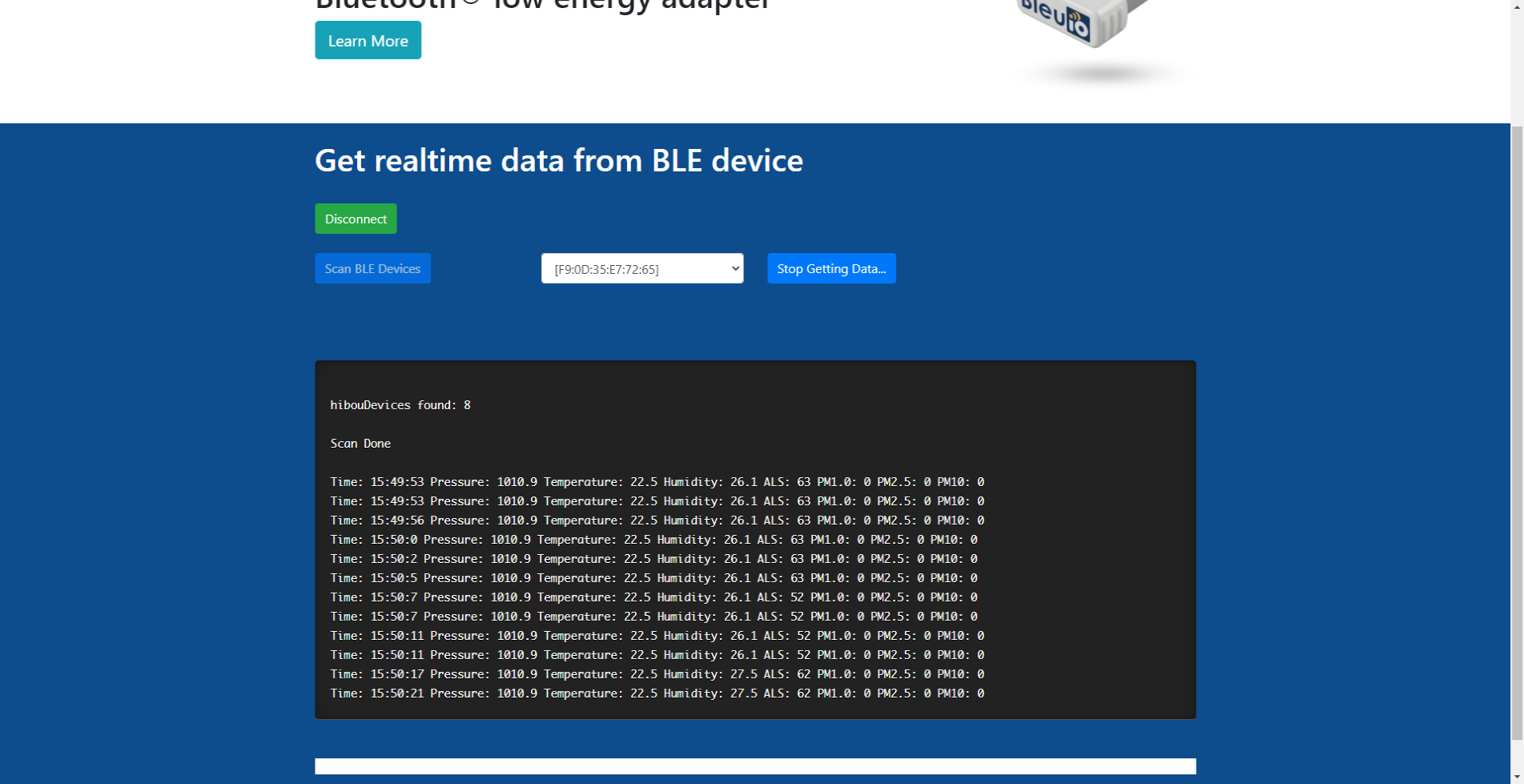 get ble data on browser