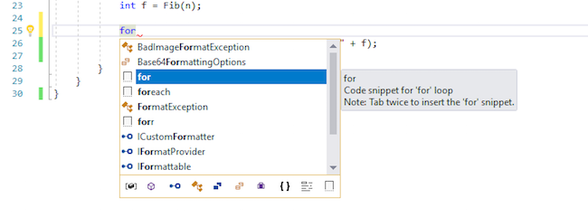adding code in Visual Studio