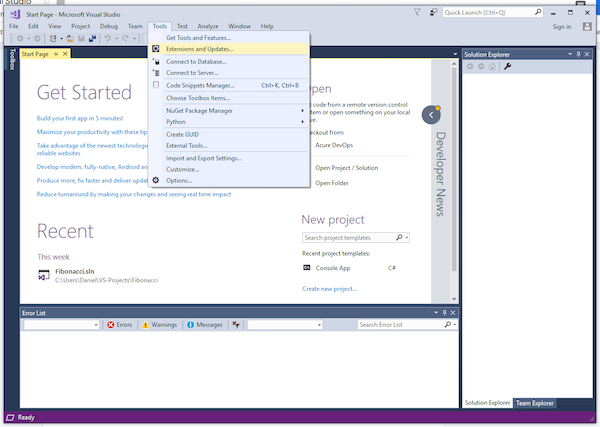 launching visual studio
