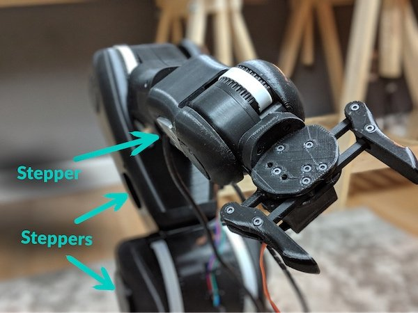 stepper motors in large robot arms