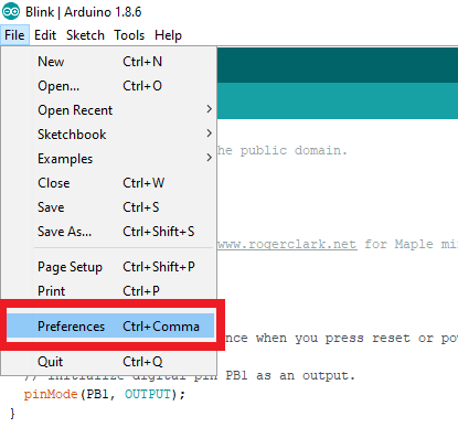 select preferences in Arduino IDE