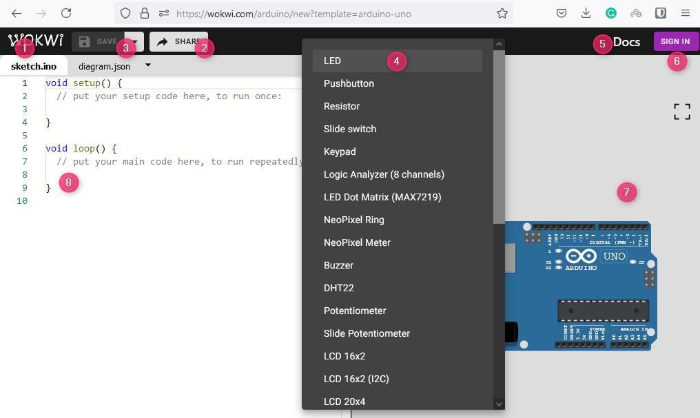 Wokwi Arduino Simulator - description of the symbols and fields