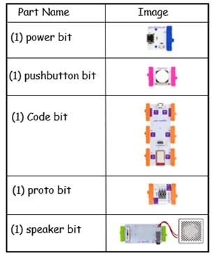 littleBits simple music machine parts list
