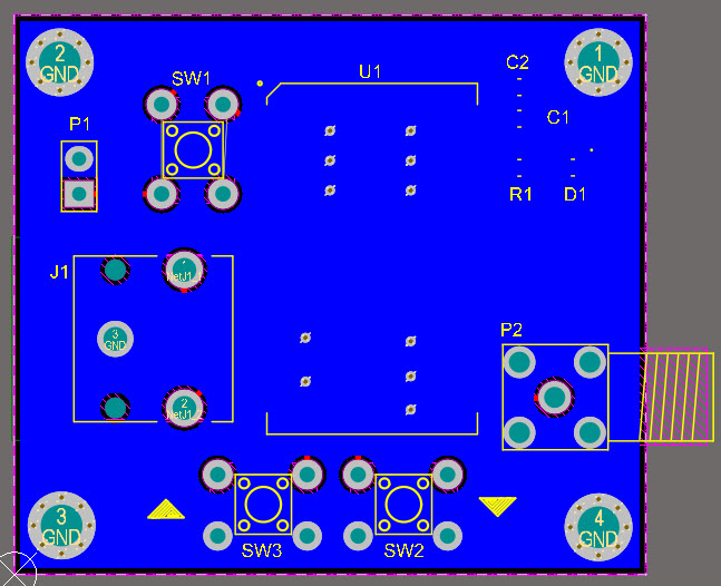 A view of the PCB's bottom layer