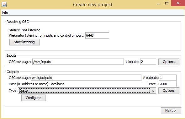 create new project window in Wekinator