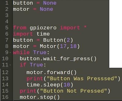 The equivalent Python based GPIO Zero code.