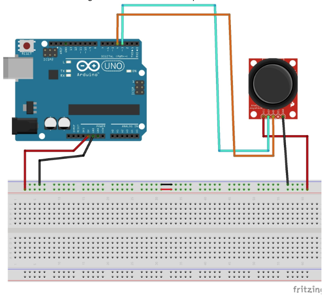 schematic for joystick module and arduino uno