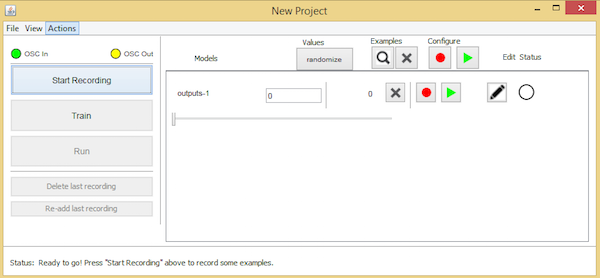 the new project window in Wekinator