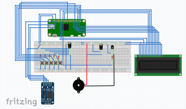 Pi Zero Alarm clock circuit diagram