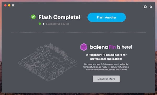 balena flash complete screen