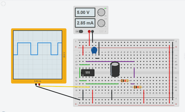 test your circuit with the online voltage source and oscilloscope