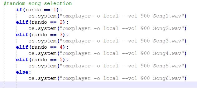 python code for setting up random song selection
