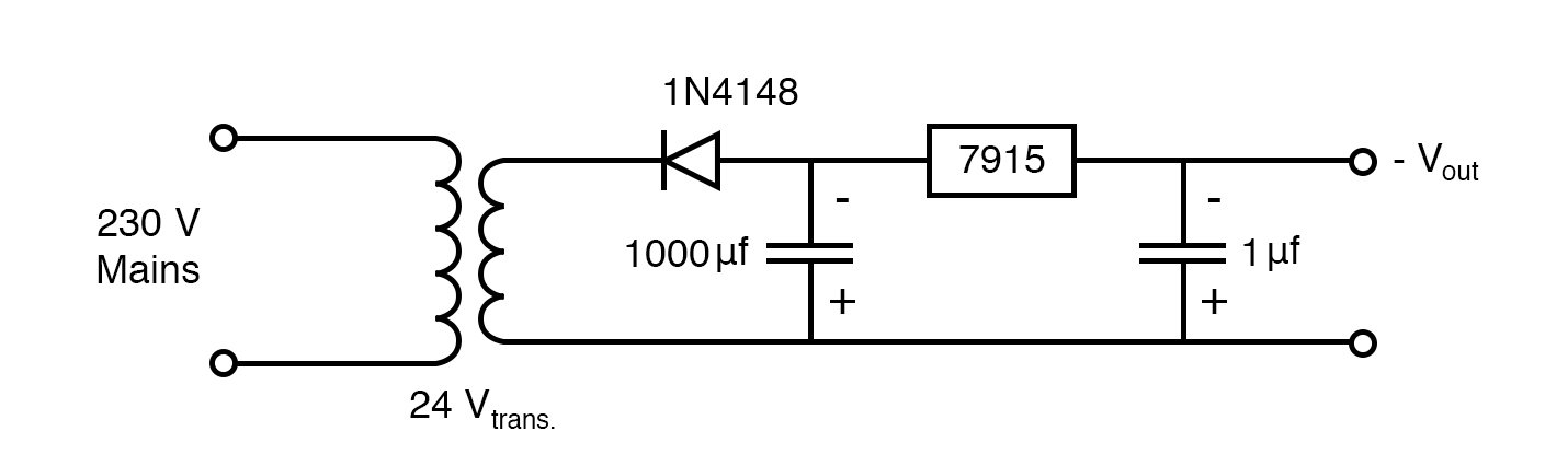 Circuit for negative voltage from AC mains.