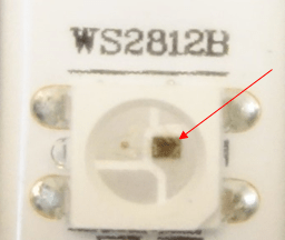 A close up of the driver IC on the LED strip.