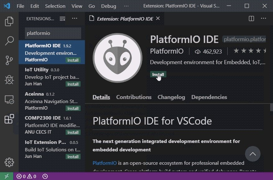 Figure 2. Installing the PlatformIO IDE extension.