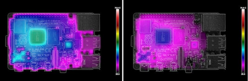 Thermal imaging of the Pi 4 idling at launch (left) and after the latest firmware update (right).