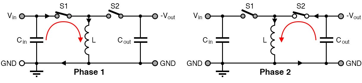 Negative voltage power can be achieved with the help of a couple of switches.