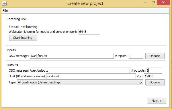 wekinator inputs and outputs