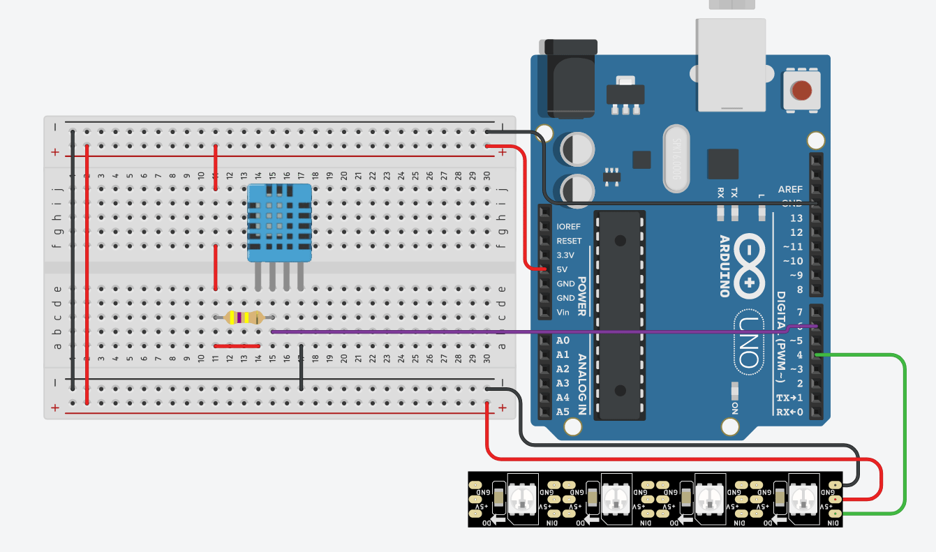 LED thermometer arduino circuit diagram