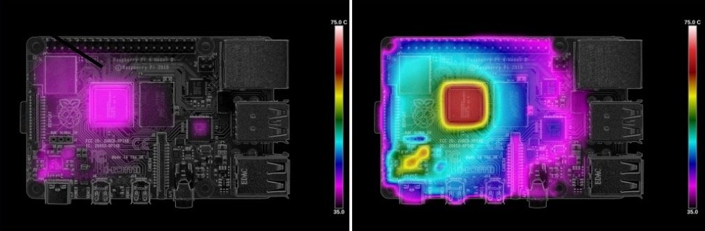 Thermal imaging of the Pi 4 running the beta firmware at idle (left) and load (right).