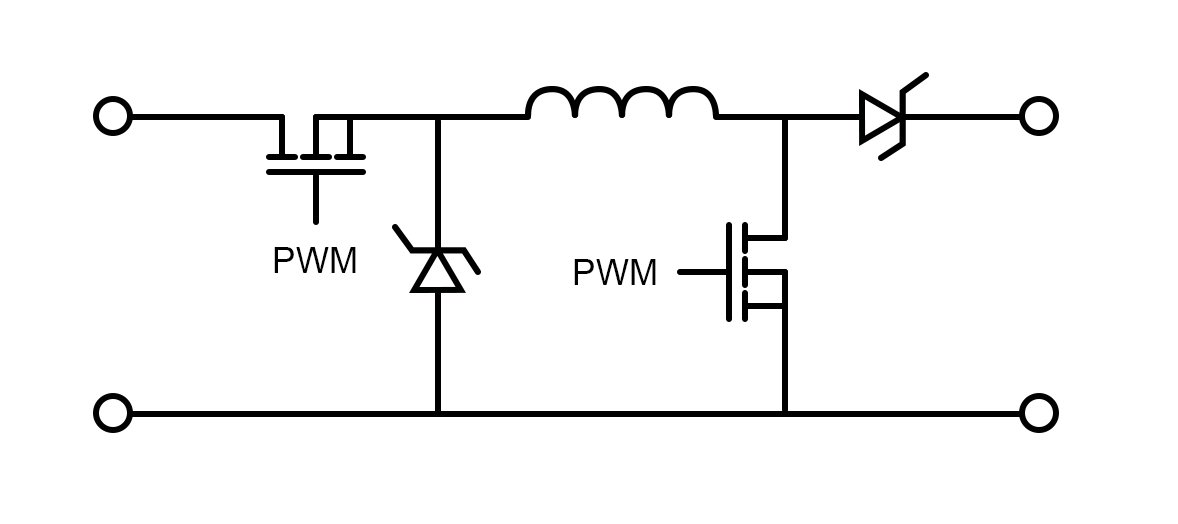 simple buck-boost converter circuit controlled by PWM signals