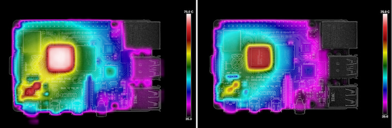 Thermal imaging of the Pi 4 loading at launch (left) and after the latest firmware update (right).