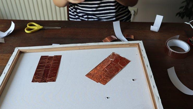 Adding copper conductive tape