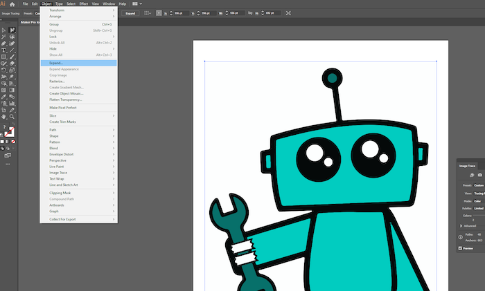 go to object expand in adobe illustrator