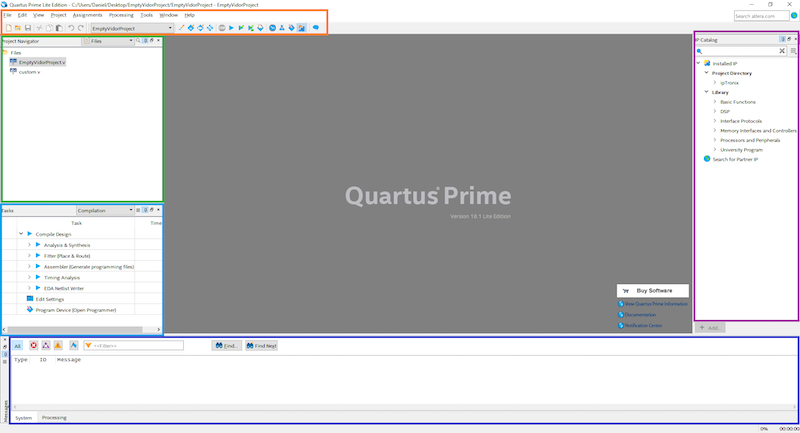 quartus ide main elements