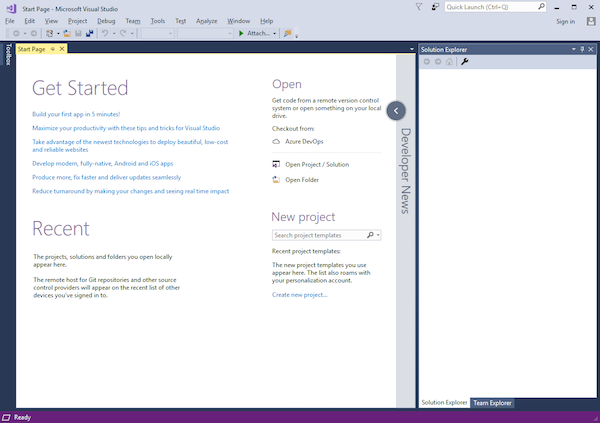 getting started in Visual Studio