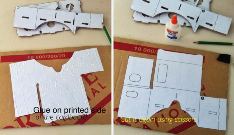 cut the cardboard based on the glued template after cutting all the three parts of the template you have to assemble it the markings on the templates